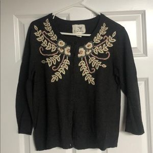 Anthropology Embroidered Sweater